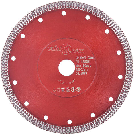 Disco de corte de diamante con agujeros acero 180 mm