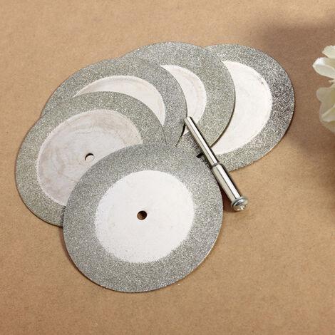 Disco de corte de diamante de 5X 50 mm Corte de hoja de sierra + Mandril Pr Dremel Rotativo