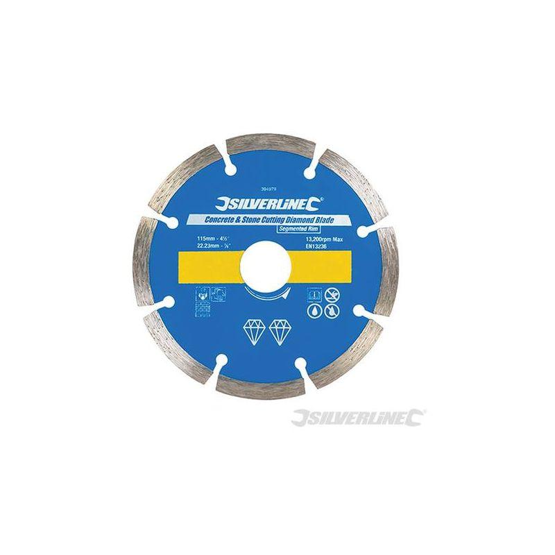 Silverline 394979 Disco de corte diamantado para piedra y hormig/ón 115 x 22,2 mm