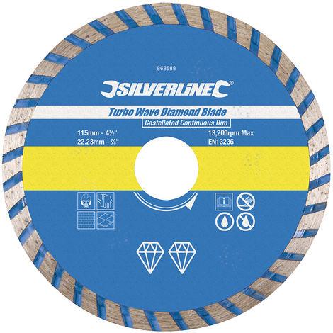 Disco de corte diamantado Turbo Wave 115 x 22,23 mm, borde continuo acanalado - NEOFERR
