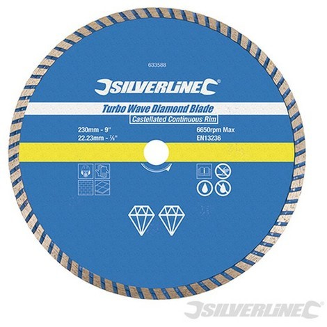 Disco de corte diamantado Turbo Wave (230 x 22.23 mm. borde continuo acanalado)