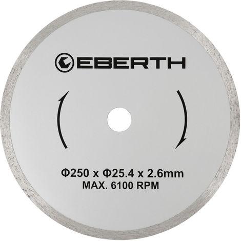 Disco de corte diamante discos diamantado universal para el corte seco y húmedo (250 mm diámetro, diámetro del orificio 25,4 mm, grosor 2,6 mm, velocidad máxima 6100 min-1)