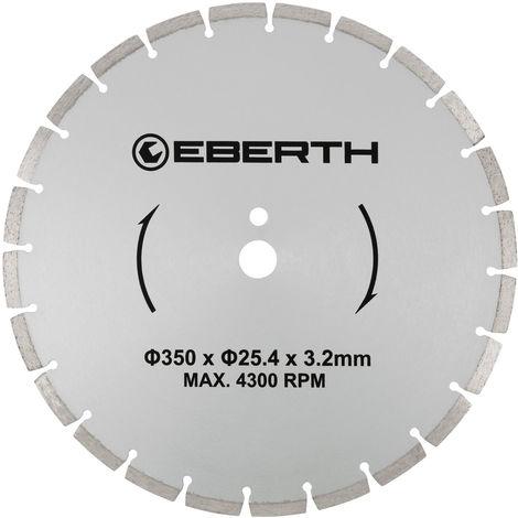 Disco de corte diamante discos diamantado universal para el corte seco y húmedo (350 mm diámetro, diámetro del orificio 25,4 mm, grosor 3,2 mm, velocidad máxima 4300 min-1)