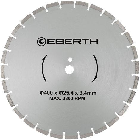 Disco de corte diamante discos diamantado universal para el corte seco y húmedo (400 mm diámetro, diámetro del orificio 25,4 mm, grosor 3,4 mm, velocidad máxima 3800 min-1)