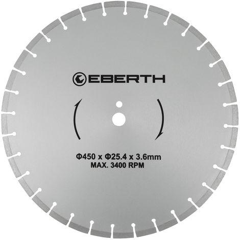 Disco de corte diamante discos diamantado universal para el corte seco y húmedo (450 mm diámetro, diámetro del orificio 25,4 mm, grosor 3,6 mm, velocidad máxima 3400 min-1)