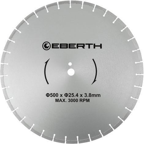 Disco de corte diamante discos diamantado universal para el corte seco y húmedo (500 mm diámetro, diámetro del orificio 25,4 mm, grosor 3,8 mm, velocidad máxima 3000 min-1)