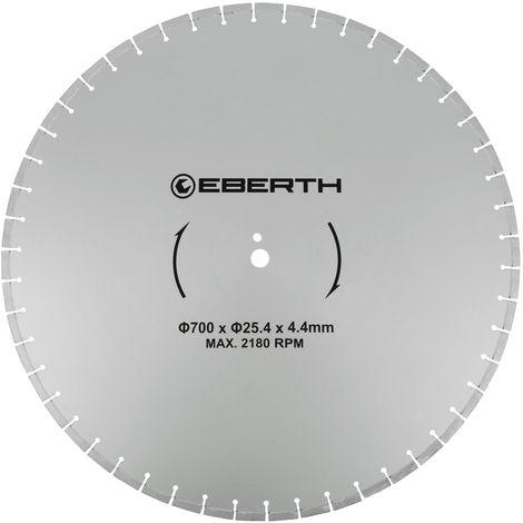 Disco de corte diamante discos diamantado universal para el corte seco y húmedo (700 mm diámetro, diámetro del orificio 25,4 mm, grosor 4,4 mm, velocidad máxima 2180 min-1)