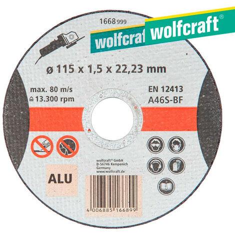 DISCO DE CORTE PARA ALUMINIO Ø 115 x 1,5 x 22,23MM. 1668999 WOLFCRAFT - NEOFERR..