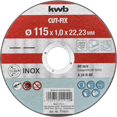 DISCO DE CORTE PARA INOX Y METAL, 180X1,6X22,23mm KWB