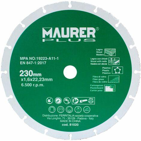 """main image of """"Disco de corte para madera y plasticos Ø 230 x 1,6 mm."""""""