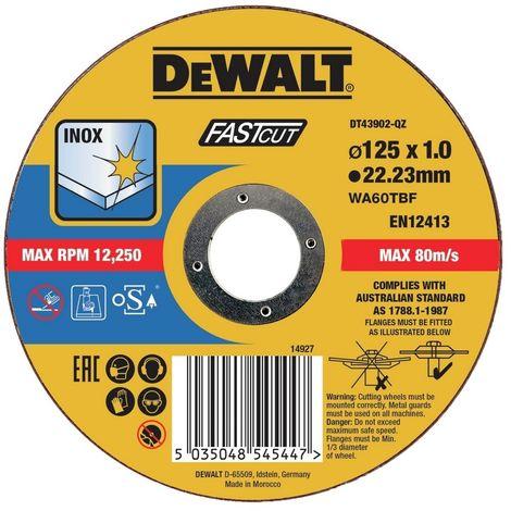 Disco de corte plano INOX con grano profesional de óxido de aluminio Thin Cut 230 x 1.9 x 22.23mm DEWALT