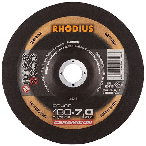 Disco de corte RS480 180 x 7,0mm Inox Rhodius(por 10)