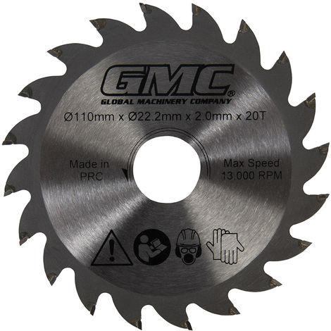 Disco de corte TCT GTS1500 Disco de corte TCT, 110 x 22,2 mm, 20 dientes - NEOFERR