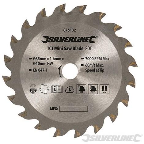 Disco de corte TCT para mini sierra circular (ø85 mm. agujero ø10 mm. 20 dientes)
