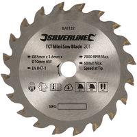 Disco de corte TCT para mini sierra circular ø85 mm, agujero ø10 mm, 20 dientes