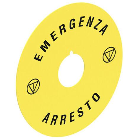 Disco de emergencia para el hongo en la cabeza de los botones pulsadores de Lovato Platino LPXAU112