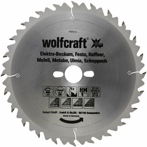 Disco de sierra circular cortes rápidos y finos Wolfcraft 250 x 30 mm 24 dientes