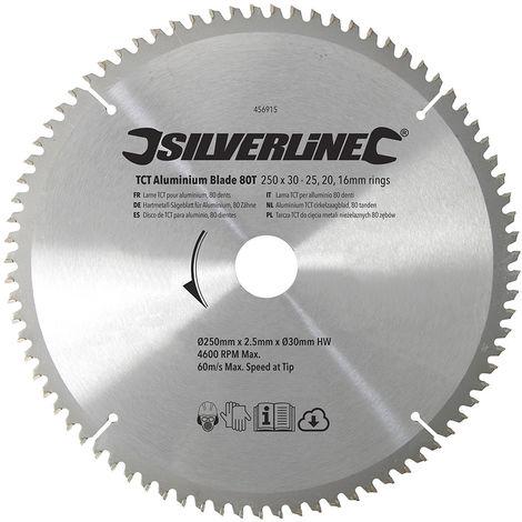 Disco de TCT para aluminio, 80 dientes 250 x 30 - anillos de 25, 20 y 16 mm - NEOFERR..