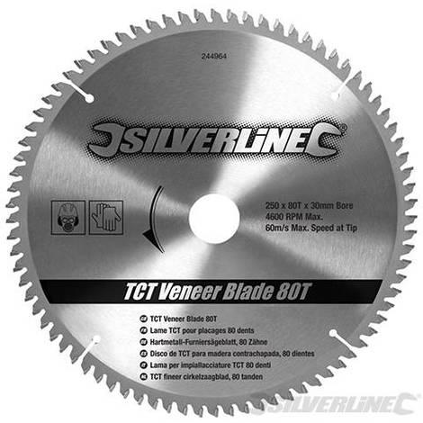 Disco de TCT para madera contrachapada. 80 dientes (250 x 30 - anillos de 25. 20 y 16 mm)
