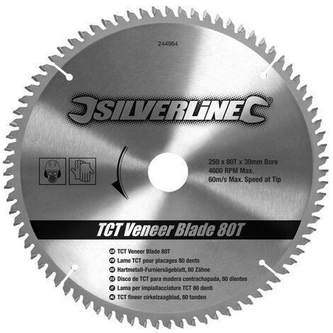 Disco de TCT para madera contrachapada, 80 dientes 250 x 30 - anillos de 25, 20 y 16 mm - NEOFERR..