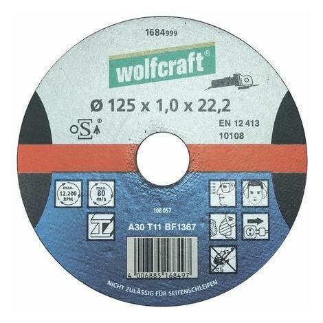 Disco extrafino de precisión de 115 mm para tronzar acero con amoladoras angulares Wolfcraft