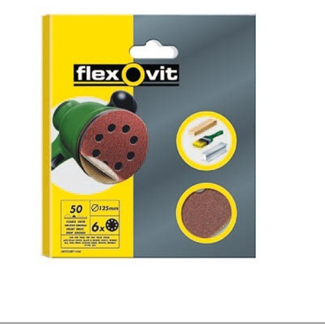 Disco Lija Velcro 8 Aguj Pq 6 - FLEXOVIT - GRANO 50 - 125 MM
