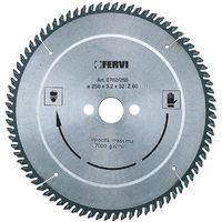 Disco per alluminio e materiali plastici Fervi - Con riporto in metallo duro - 0762/250