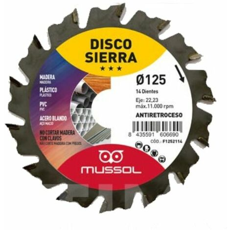 Disco Sierra Widia Para Amoladora Mussol 125mm