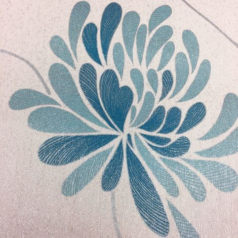 DISCONTINUED Aqua Teal Blue Silver Flower Floral Wallpaper Glitter Luxury Vinyl Deco Discount