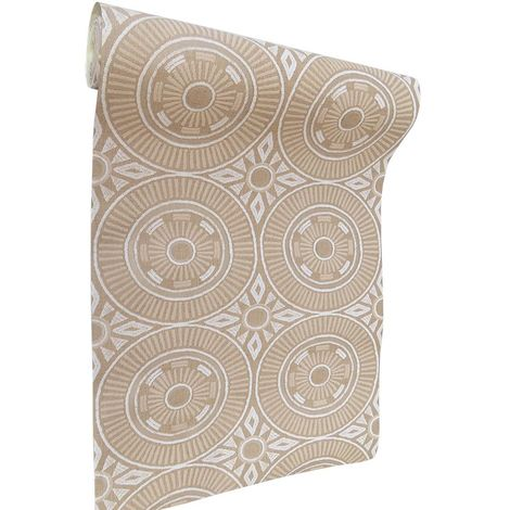 DISCONTINUED Aztec Wallpaper Circular Modern Lined Textured Embossed Beige Cream White