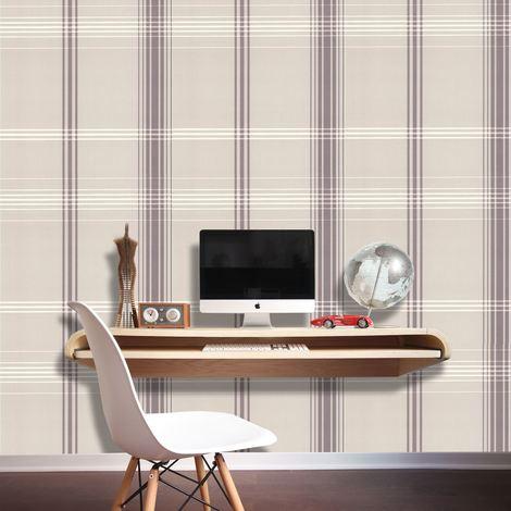 DISCONTINUED Check Wallpaper Checked Tartan Plaid Chequered Light Grey Metallic Shiny White