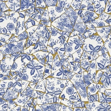 DISCONTINUED Crockery Wallpaper Cracked Antique Flowers Floral Vinyl White Blue Metallic Gold