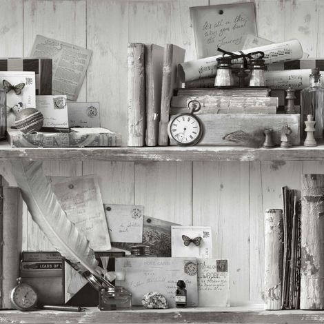 DISCONTINUED Eclectic Black White Wallpaper Old School Rustic Collector Items Shelves Vintage