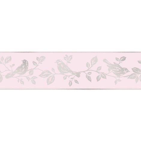DISCONTINUED Fine Decor Glitz Glitter Leaf And Birds Pink And Silver Sparkle Border