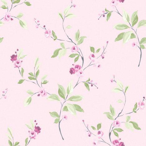 DISCONTINUED Floral Trail Wallpaper Flower Motif Leaves Lightly Textured Modern Pink Rasch