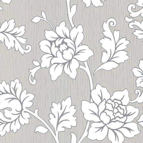 DISCONTINUED Flower Floral Wallpaper Textured Vinyl Grey Silver Glitter Cream Anya Arthouse