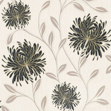DISCONTINUED Flowers Wallpaper Floral Textured Vinyl Glitter Cream Silver Gold Black Dahlia