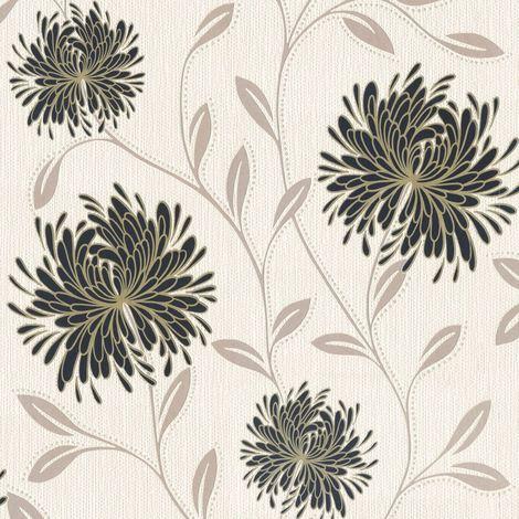 DISCONTINUED Flowers Wallpaper Floral Textured Vinyl Glitter Cream Silver Gold Black Dahlia