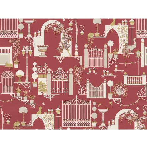 DISCONTINUED Garden Pattern Wallpaper Trees Birds Cats Lights Metallic Madeline Red White