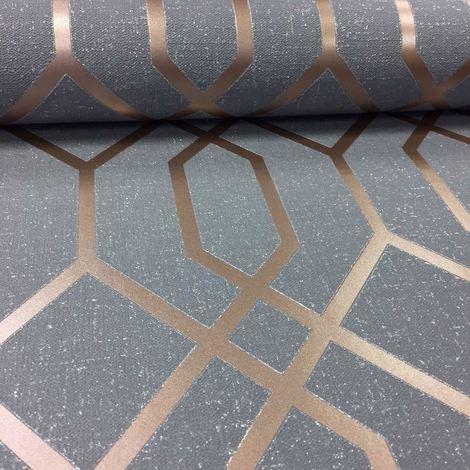 DISCONTINUED Geometric 3D Effect Wallpaper Trellis Textured Vinyl Charcoal Metallic Copper
