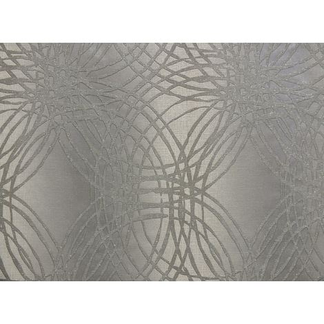 DISCONTINUED Glitter Wallpaper Textured Metallic Leon Silver Geometric Circles Grandeco