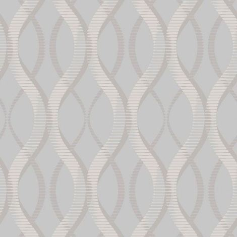 DISCONTINUED Modern Geometric Wallpaper Uptown Embossed Vinyl Textured Glitter Grey Silver