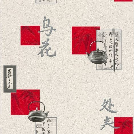 Discontinued Oriental Chinese Vinyl Wallpaper Kitchen Textured Washable White Red Grey