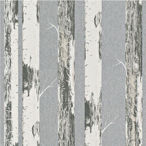 DISCONTINUED Rasch Amelie Birch Tree Cream/ Silver Wallpaper
