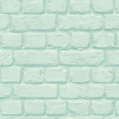 DISCONTINUED Rasch Brick Effect Turquoise Wallpaper