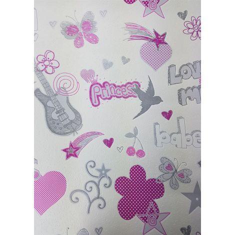 DISCONTINUED Rasch Girls Pink/ White Butterflies Stars Wallpaper