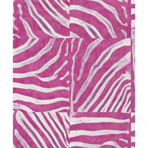 DISCONTINUED Rasch Safari Pink Zebra Stripe Wallpaper