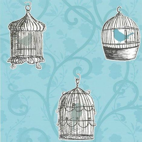 DISCONTINUED Skylark Teal Wallpaper Birds Birdcage Floral Trail Flowers Leaves Arthouse