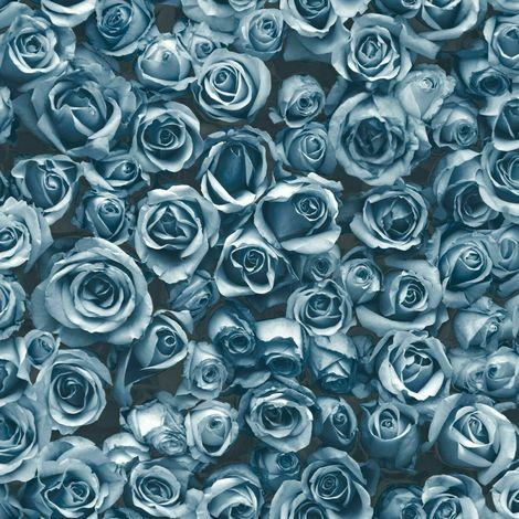 DISCONTINUED Small Blue Roses Floral Wallpaper Flowers Photographic Collage Muriva Rosalee