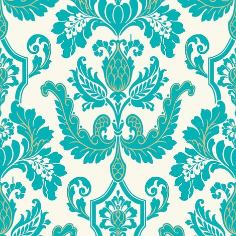 DISCONTINUED Statement Cicely Turquoise Damask Wallpaper
